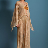 Long lace tunic, stars and moons lace dress, gold detail long dress with wide sleeves