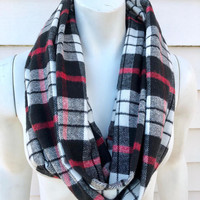 Plaid Infinity Scarf-Women's Handmade Fall Flannel Scarf-Accessories Gifts For Her-Stocking Stuffer-Black and Red Scarf-Winter Chunky Scarf