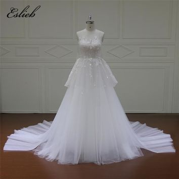 Eslieb Luxuary Real Photo Sexy Long Bow Vintage Wedding Dresses 2018 Flower Sequined Wedding Gown Vestido De Noiva Plus Size