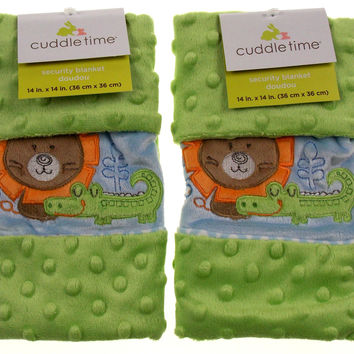 Set of 2 Cuddle Time Green Baby Security Blanket Lovey Alligator Bear Plush Soft