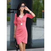 V Neckline Pleated Design Frill Pink Cotton Half Sleeves Dress--Women's Dresses China Wholesale - Sammydress.com