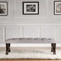 2-Seater Modern Wood Bench with Gray Linen Cushion Seat