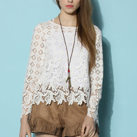 Adorable Crochet Cutout White Top White S/M