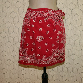 Red Bandanna Print Wrap Skirt Cotton Skirt Mini Skirt Short Skirt Country Western Casual Skirt Womens Skirts Small Medium Womens Clothing
