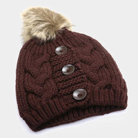 Women's Brown 3 Triple Button Cable Knit Fur Pom Pom Beanie Cap Hat