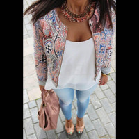 Fashion Womens Long Sleeve Coat Slim Floral Short Casual Blazer Jacket Outerwear