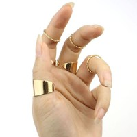 Tabwing New 6 Sets Punk Gold Stack Plain Band Midi Mid Finger Knuckle Ring Set