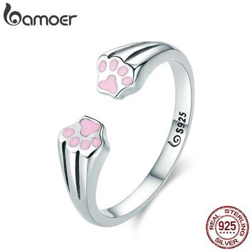 BAMOER New Collection 100% 925 Sterling Silver Animal Pet Dog Cat Footprints Finger Ring for Women Engagement Jewelry SCR366