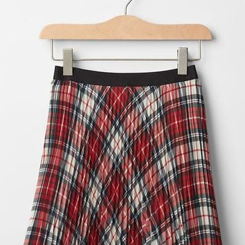 Gap Girls Plaid Pleated Circle Skirt