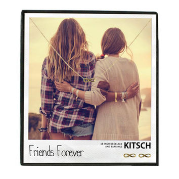 Kitsch Friends Forever Necklace & Earring Set Gold - 16 inches
