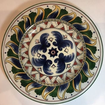 Tabletops Unlimited Deruta Hand-Painted Collection Blue Feather 1 Salad Plate