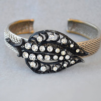 Japanned Rhinestone Leaf Assemblage Cuff Bracelet with Vintage Components