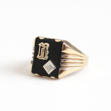 Vintage 10k Rosy Yellow Gold Diamond Initial E Signet Ring - Mid Century 1940s Size 10 1/2 Black Onyx Monogram Letter Fine Jewelry