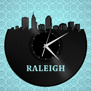 Raleigh Clock, North Carolina Skyline, NC State, Silent Clock, Vinyl Wall Decor, Decorative Wall Plates, Upcycled Record Clock, Gift Idea
