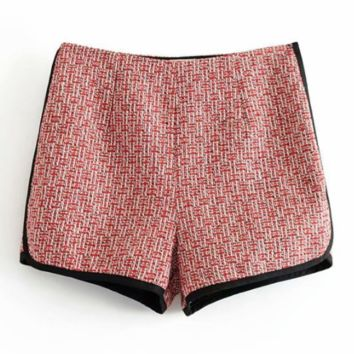 Autumn small scent tweed women's shorts