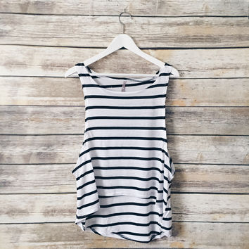 Suzy Striped Muscle Tank (White)