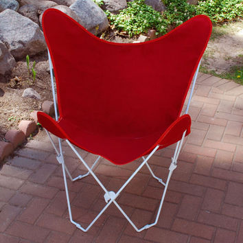 Algoma Net Company 4052-54 White Butterfly Chair with Red Cover