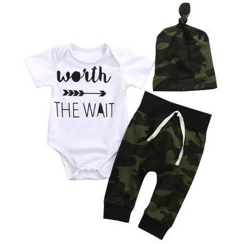 Newborn Baby Boy Girl Clothes Set Bodysuits Army Green Pant Jumpsuit Bodysuit Children Clothing Boys Girls Costume 0-18Months