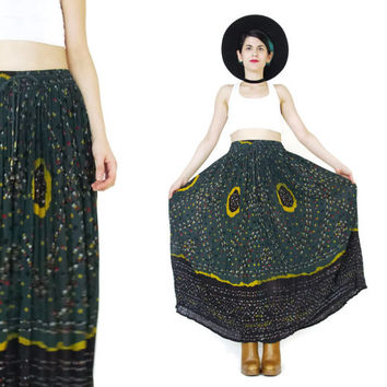 Vintage Indian Gauze Cotton Maxi Skirt Gypsy Hippie Boho Skirt Forest Green Skirt Crinkle Drawstring Waist Plus Size Broomstick Skirt (S/M)