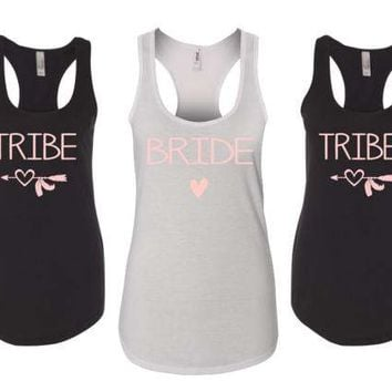 Bride tribe tank top, bachelorette party tank tops,  bridesmaid tank top, maid of honor tank top, personalized tank top, wedding party shirt