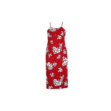 Seastar Red Long Hawaiian Skinny Strap Floral Dress