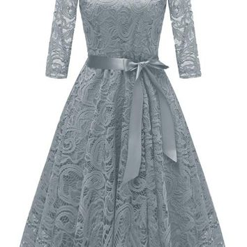 A| Chicloth New Solid Lace Round Neck Vintage Dress
