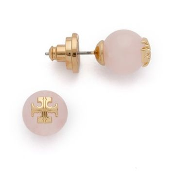 Rose Quartz Logo Stud Earring