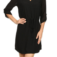 V-Neck Shirt Dress