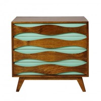Wave Four Drawer Wood Chest