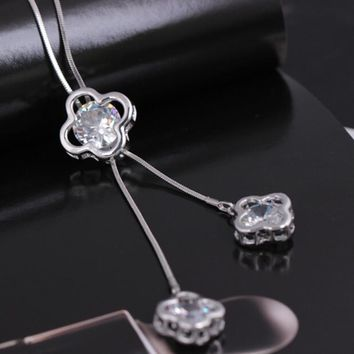 Stylish Jewelry Gift New Arrival Shiny Leaf Winter Fashion Crystal Necklace [11187555284]