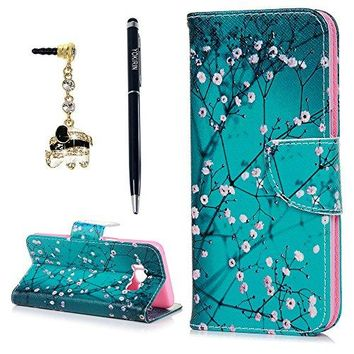 Galaxy S8 Case, YOKIRIN Classic Cherry Blossom Magnetic Style PU Leather Case Wallet Flip Stand Flap Closure Cover with ID&Credit Card Holder 3D Diamond Dust Plug for Samsung Galaxy S8