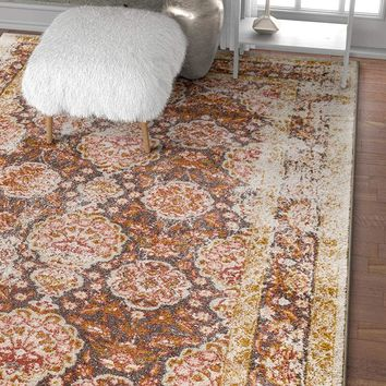 6107 Beige Persian Thick Distressed Vintage Area Rugs