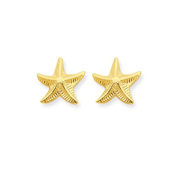 14k Yellow Gold 11mm Textured Starfish Post Earrings