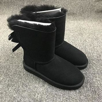 VON3TL Sale Ugg 1002954 Double Bow Ribbon Black Classic II Sheepskin Boots Snow Boots