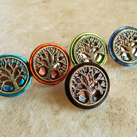 Tree of Life Cufflinks: Set of 5 - Father of the Bride - Groomsmen Gift - Celtic Wedding - Best Man Gift - Irish Wedding - Wiccan Wedding