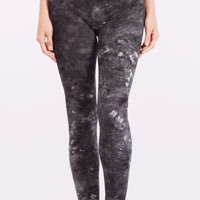 High Waist Tie-Dye Full Length Leggings in Black