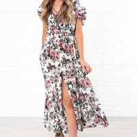 Falling Into You Floral Maxi Dress (Ivory/Multi)