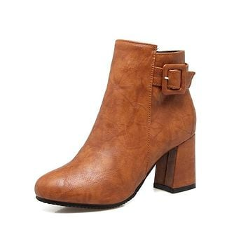 Zip Buckle Faux Leather Ankle Boots Heels 5334
