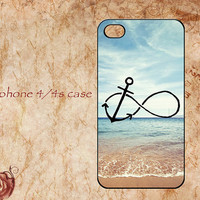 Iphone 4 case,iphone 4s case,Infinity Anchor Blue Ocean Beach iphone 4/4s hard case,Relax