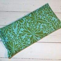 Aromatherapy Eye Pillow - Flax Seed & Lavender - Green aqua leaves - yoga
