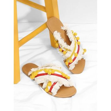 Criss Cross Flat Sandals With Pom Pom