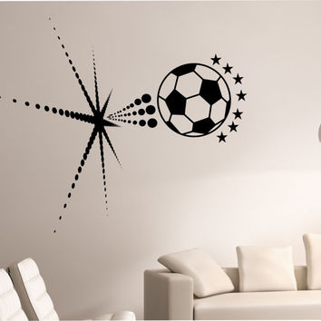 Soccer Wall Decal BURSTING SPACE GALAXY Sticker Art Decor Bedroom Design Mural sports lifestyle work out home decor universe stars