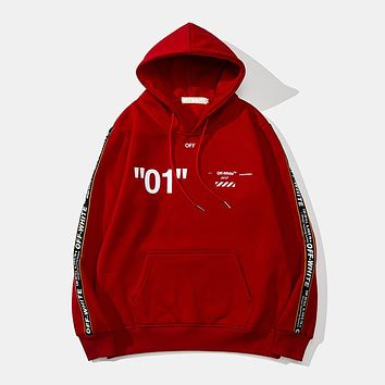 OFF-WHITE 2018 autumn and winter new string and velvet men and women hooded sweater Red