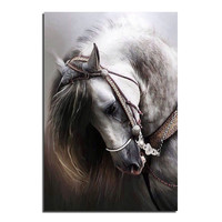 Horse Cross Stitch Printed Kits Draw a Diamond Picture Rhinestones Round Diamond Embroidery