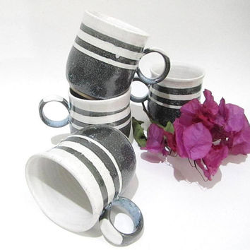 Pottery Coffee Mug, Latte Mug, Tea Cup, Handmade Mug in Grey and White