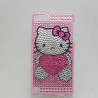 "Bling Diamond Rhinestone Image ""I Love You"" Hello Kitty Hard Case Cover Skin For Apple Ipod Touch5 Itouch5 touch 5 case (Back case) + Free Protective Film + Stylus Pen ""catgift_store"""