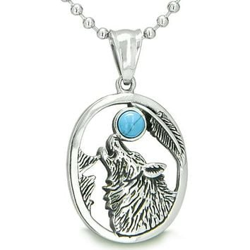 Amulet Courage Howling Wolf Turquoise Moon Gemstone Lucky Charm Pendant Necklace
