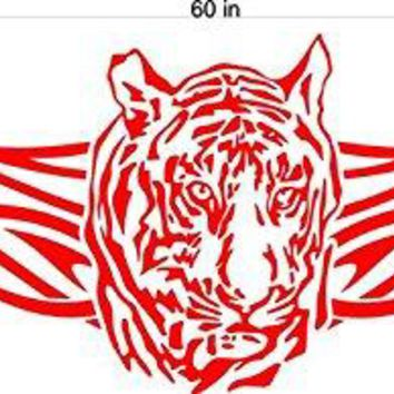 Tiger Animal Flames Motor Cross Street Track Motorcycle Racing Trailer Decals Stickers Mural One Color 2 Graphics AF11