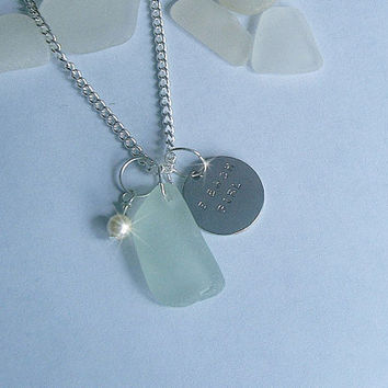 Beach Girl Necklace. Sea glass necklace with silver hand stamped beach girl tag. Beach jewelry.