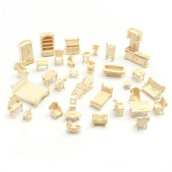 34pcs set DIY Mini Kids Educational Dollhouse Furniture 3D Woodcraft Puzzle Model Kit Handmade Toys Children Handworked gift